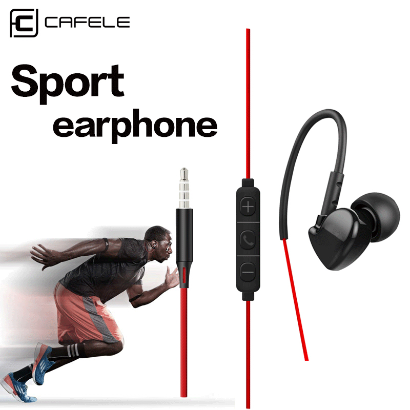 Cafele 3.5mm In-ear Sport Earphones Super Bass Hifi Running Earbuds Stereo Earpod With For iPhone 5s 6s plus Samsung xiaomi MP3 super bass earphone hifi stereo sound 3 5mm earbuds in ear earphones with mic sport running headset for phone