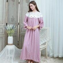 Big Size Nightgown Dress Women Vintage Sleepwear Home Dress Sleep