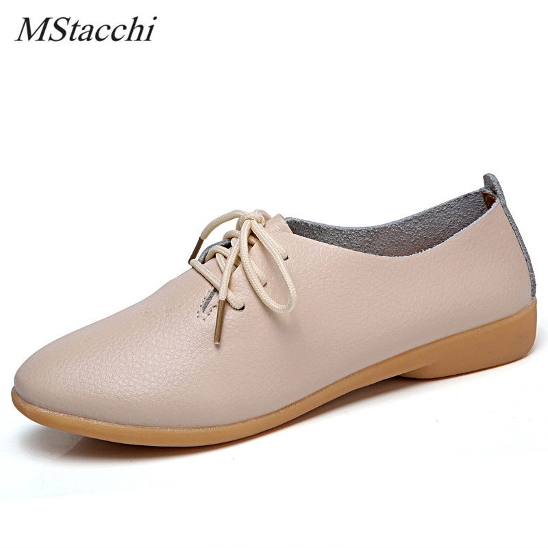 Mstacchi 2018 Fashion Women Leisure Shoe Laces Flat Student Shoes Woman Round Toe Real Leather Flats Shoes Lace-up White Shoes