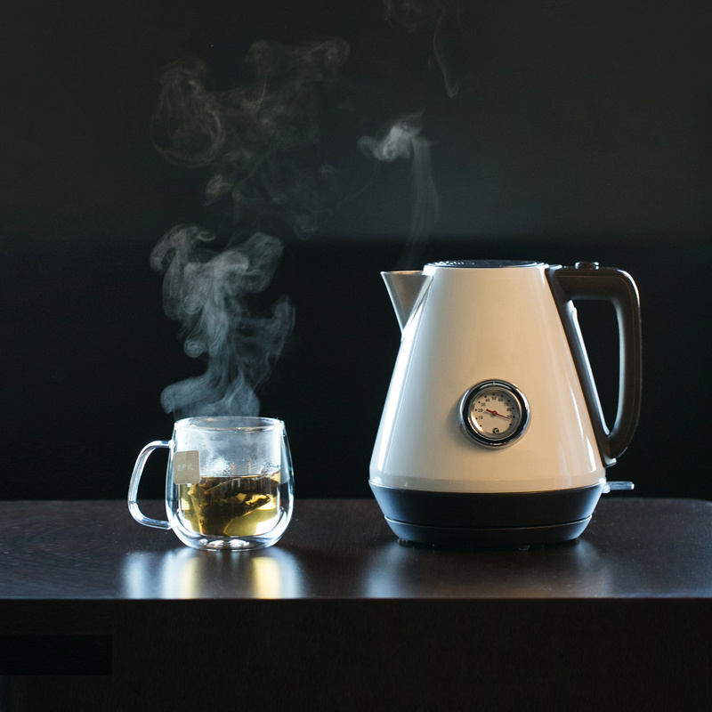 YEATION Home 1.7L Retro Electric Kettle With Water Temperature Meter 1800W Household 220V Quick Heating