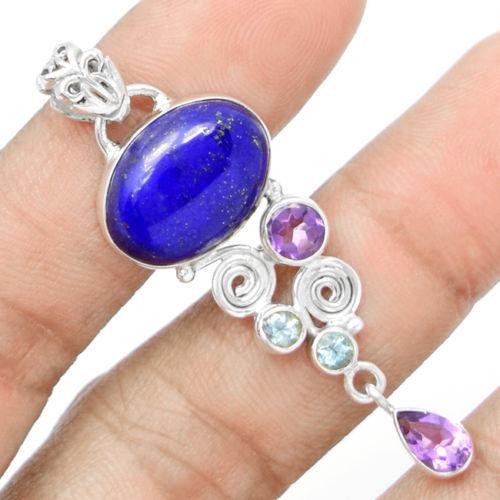 Mão fazer Garantia Genuine Lapis Lazuli Topázio Azul + + Ametista Pingente 100% de Prata Esterlina 925
