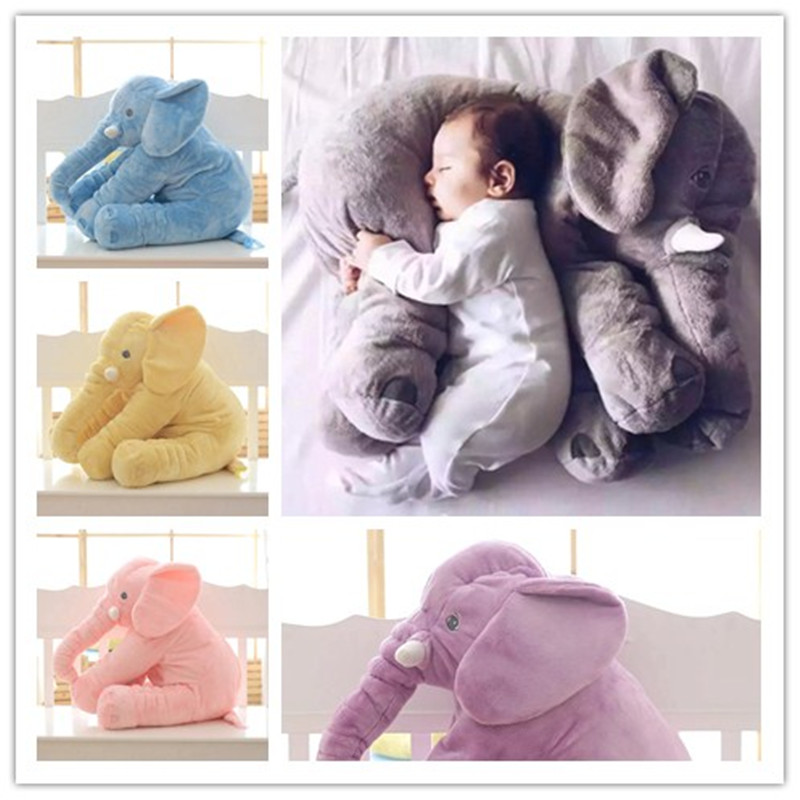 PUNIDAMAN 1pc Big Size 60cm Infant Soft Appease Elephant Playmate Calm Doll Baby Toys Elephant Pillow Plush Toys Stuffed Doll