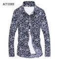 2017 cotton men flower shirt Men floral shirts long sleeve Men dress shirt slim fit Camisa Plus Size 3XL 4XL 5XL 5z