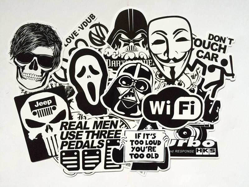60 PCS Black and White Cool DIY Stickers For Skateboard Laptop Luggage Snowboard Fridge Phone Toy