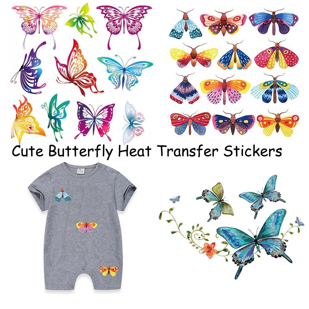 Flower Butterfly Patch Iron On Appliques A-level Washable Heat Transfer Stickers