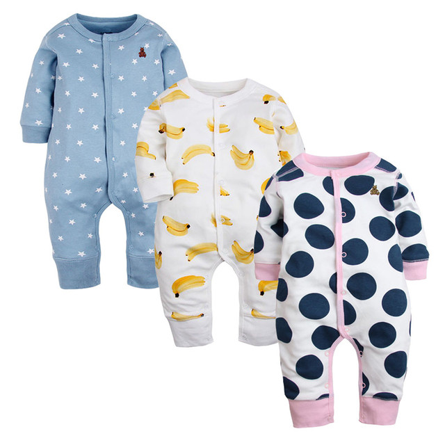 3 Pcs New Brand Baby Rompers Long Sleeves Cotton Newborn Baby