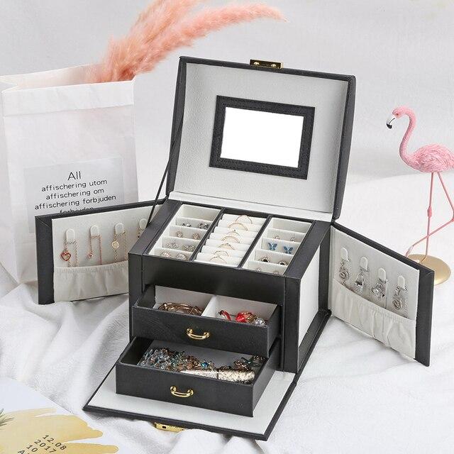 Casegrace 2019 Women Jewelry Storage Organizer Drawers Box Travel Makeup Cosmetic Case Mirror Leather Wedding Decoration
