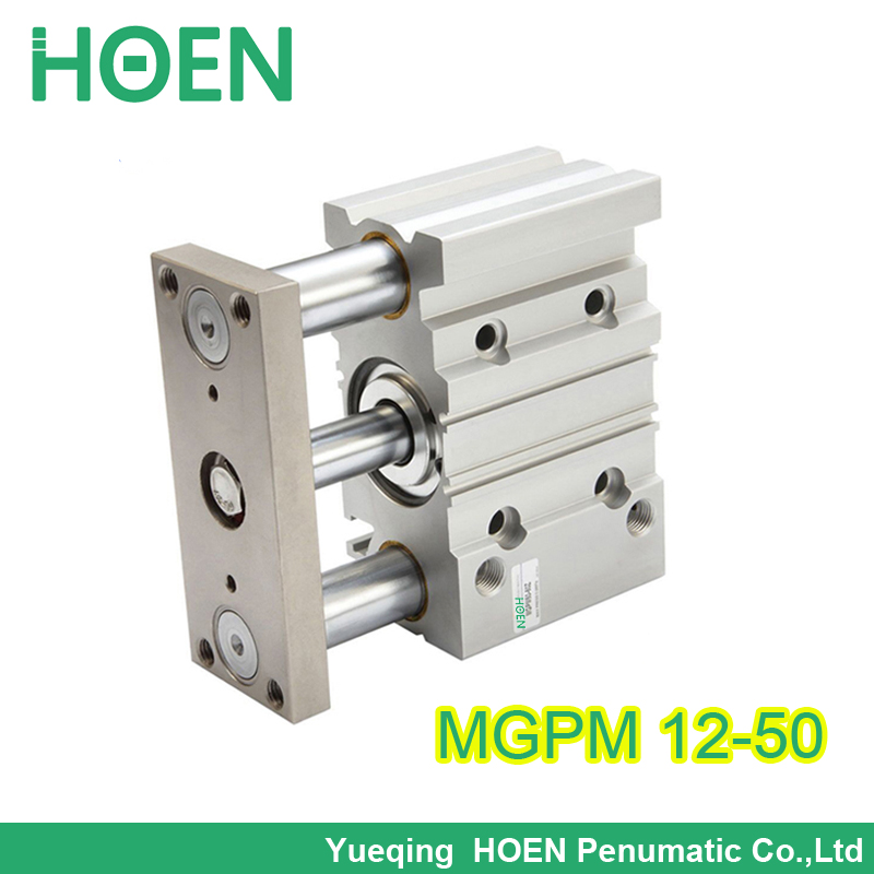 FREE SHIPPING MGPM 12 50 12mm bore 50mm stroke guided cylinder slide bearing three rod air