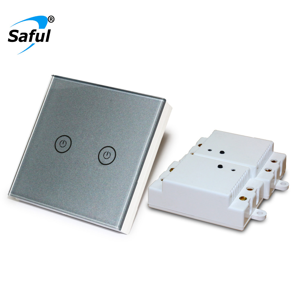 Saful Silver Wall Touch Switch 2 gang 2 Way Remote Control Touch Switch Power for Light ,Crystal Glass Panel wall switch