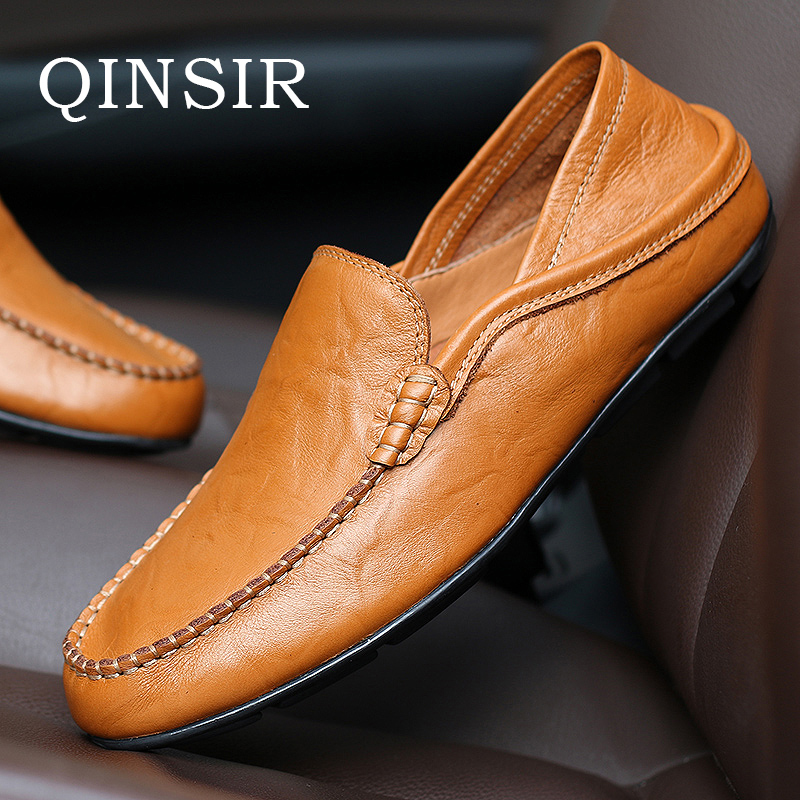 Mens Slip On Casual Shoes Spring Autumn Winter Male Men Loafers Breathable Soft Top Layer Genuine Leather Driving Flats Hot Sale african wedding shoes and bag sets women pumps decorated with diamonds italian matching shoe and bag mm1014