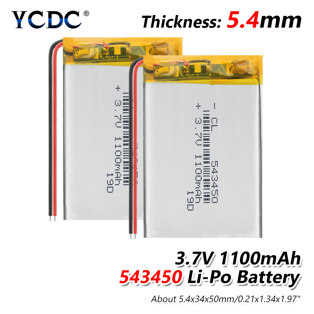 1100 MAh 543450 3.7V Polymer Lithium Rechargeable Battery Li-ion Battery 503450 523450 For Smart Phone DVD MP3 MP4 Led Lamp