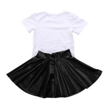 New 2PCS Toddler Kids Girl Clothes Set Summer Short Sleeve Mini Boss T-shirt Tops + Leather Skirt Outfit Child Suit New 4