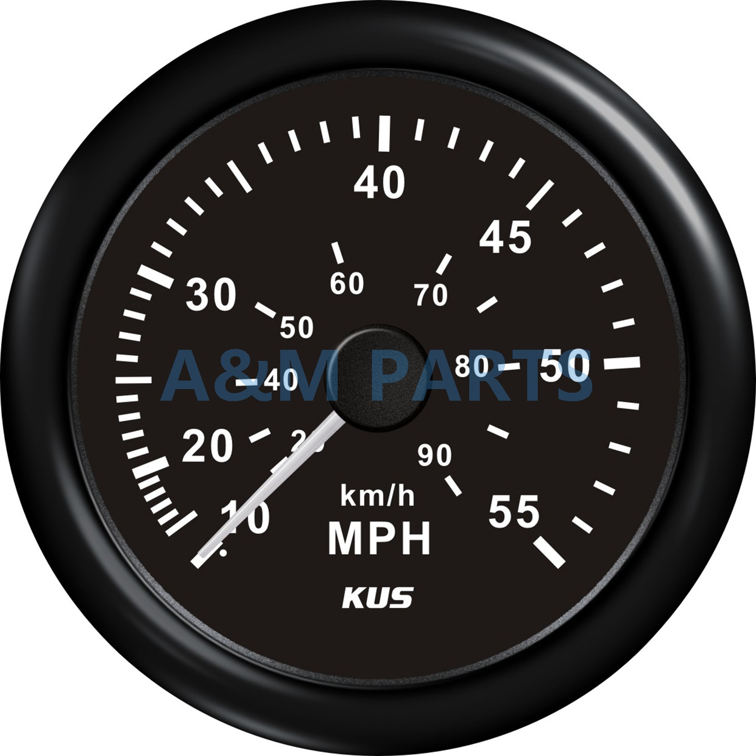 KUS Boat Speedometer Marine Offroad Waterproof Speed Meter Gauge With Red Yellow LED Back Light 0-55 MPH 90 KM/H 85mm Black Face цена и фото