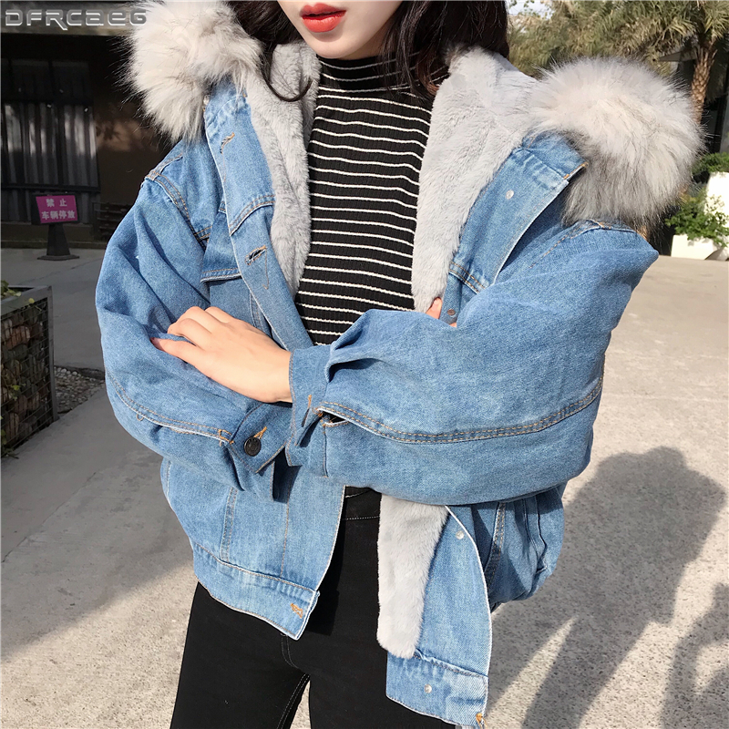 Big Faux Fur Collar Winter Jacket Women Oversized Batwing Sleeve Denim Jackets Wool Liner Jeans Coat