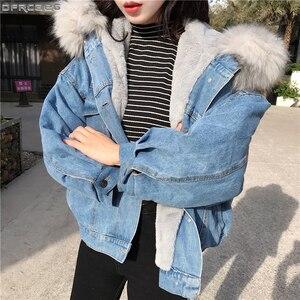 Image 1 - Big Faux Fur Collar Winter Jacket Women Oversized Batwing Sleeve Denim Jackets Wool Liner Jeans Coat Velvet Warm Jaqueta Hoodies