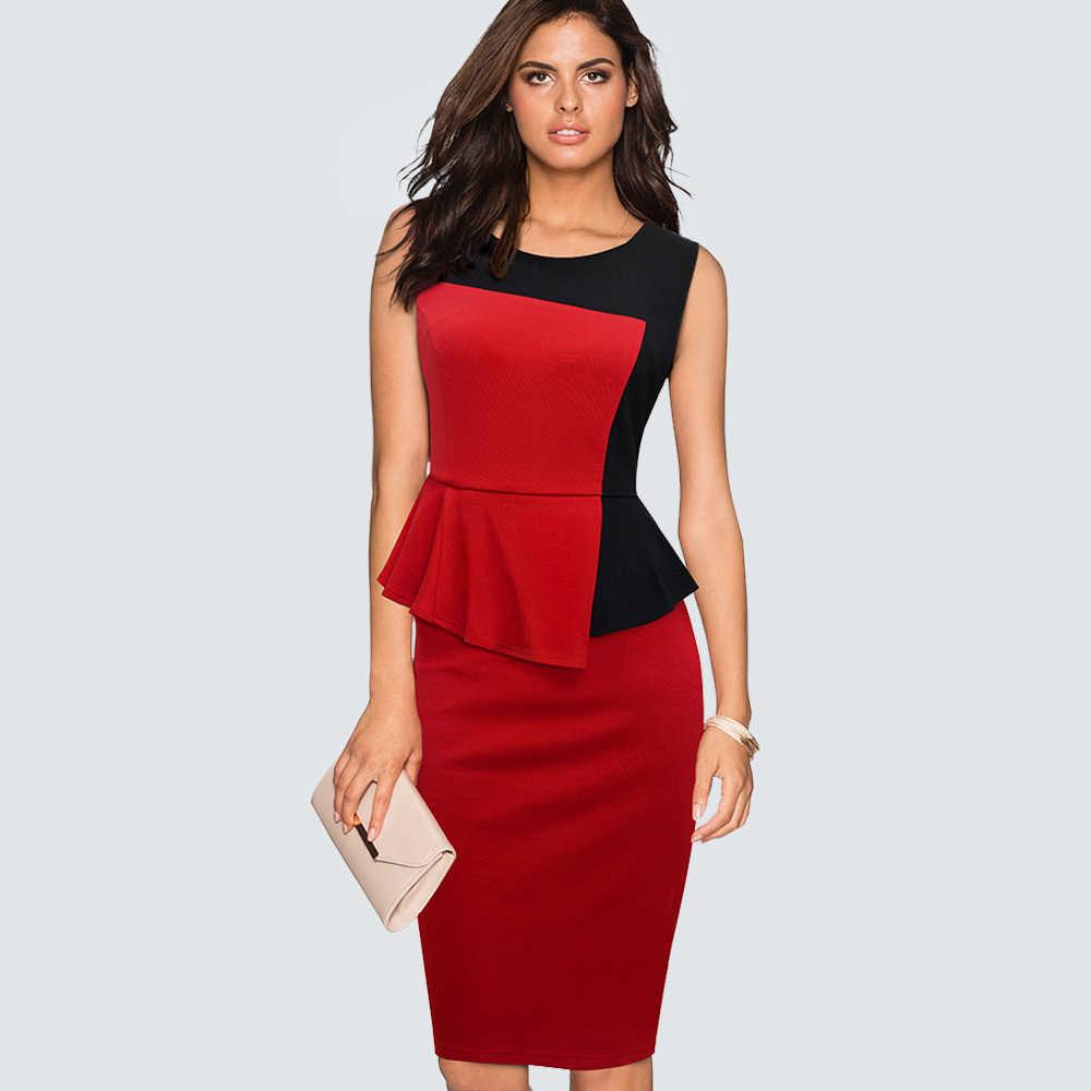 Casual Sleeveless Colorblock Work Office Pencil Dress Women Formal Elegant  Peplum Sheath Slim Bodycon Summer Dress 341ac3a06460