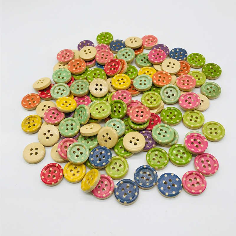 XinDong 15mm Houten Naaien Knoppen Scrapbooking Ronde Kleurrijke Gemengde Vier Gaten 10 stuks Costura Botones Versieren bottoni botões