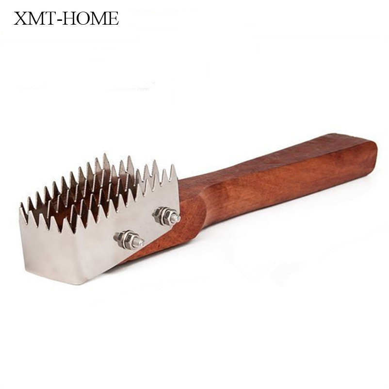 XMT-HOME wood handle fish cleaning knife fish scrapers scales tool 1pc