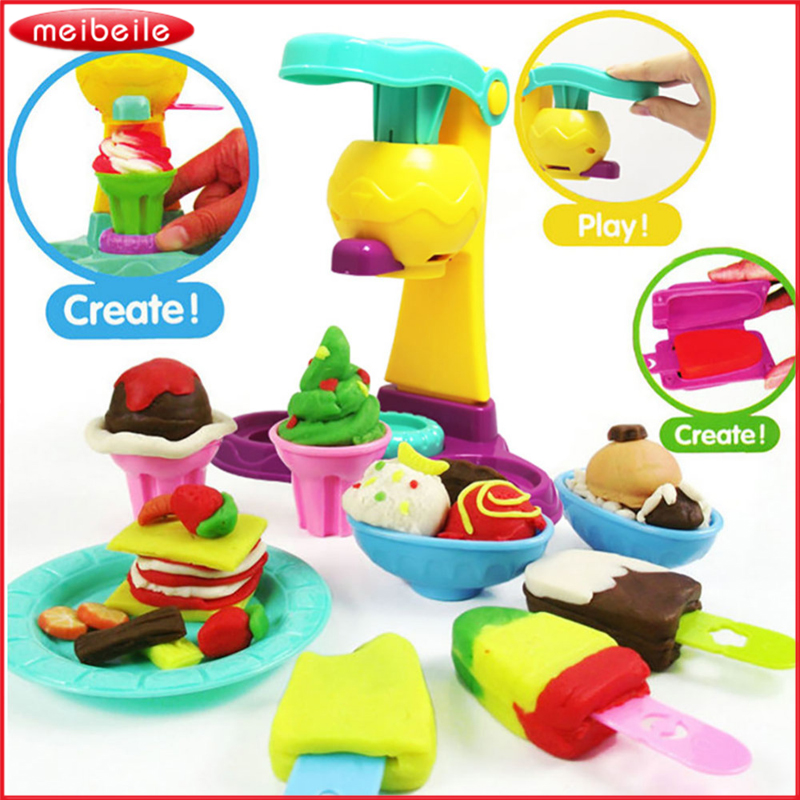 Hot 3D Safety Plasticine Playdough Ice Cream Sets With Moulds 5 Color Dough Children Pretend Play Learning & Education Toy blue like play dough