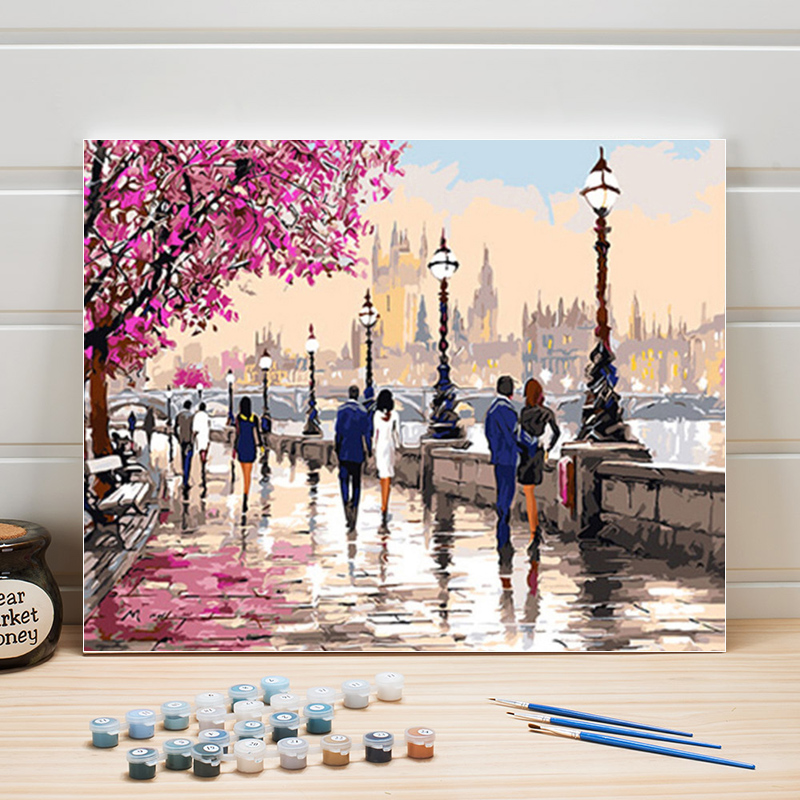 Paint Oil Painting By Number City Scenery Lovers DIY Acrylic Coloring Art On Canvas Wall Pictures For Living Room Adults Drawing