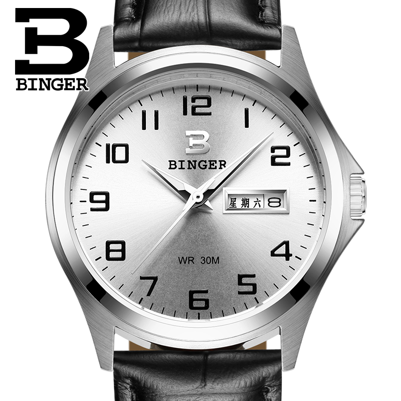 2018 Switzerland luxury men's watch BINGER brand quartz full stainless clock Waterproof Complete Calendar Guarantee B3052B4 2016 switzerland luxury watch men binger brand quartz full stainless wristwatches waterproof complete calendar guarantee b3052b6