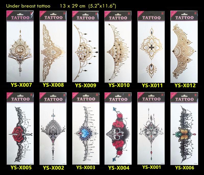16 6PCS Sexy chest jewelry tattoo BIG Size 295MM x 130MM Body Art tatoo Temporary Tattoo Exotic Sexy Tattoo Stickers 9