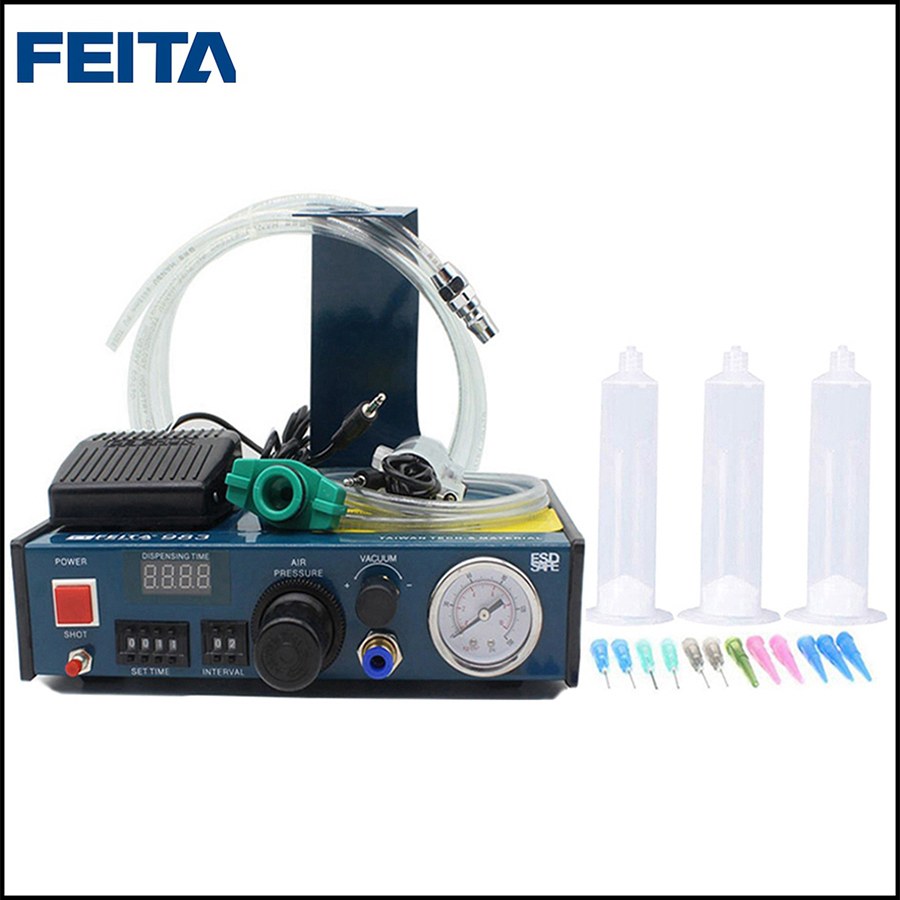FEITA FT-983 Auto Dispensing Epoxy Dropper Liquid Glue Dispenser Doming Machine for Stickers and Label Maker feita ft 982 semi automatic liquid glue dispensing dispenser machine with manual operation and foot pedal