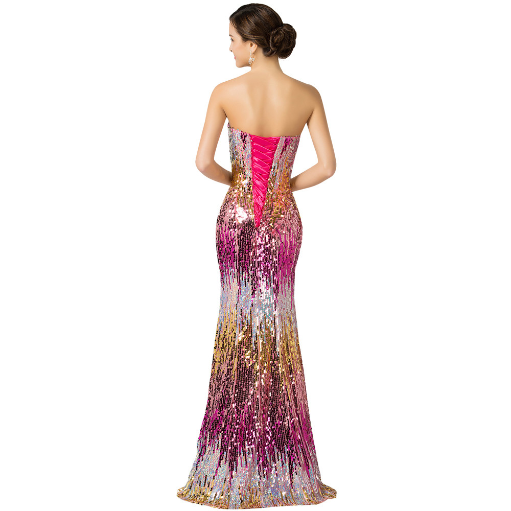 Sweetheart Colorful Sequins Lace Evening Dress 13