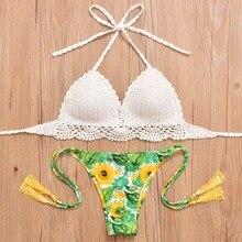Sexy Crochet bikinis Women Bikini 2017 Swimsuit Low Waist Bathing Suit Push Up Swimming Suit Beach Swimwear Set Tassel Green