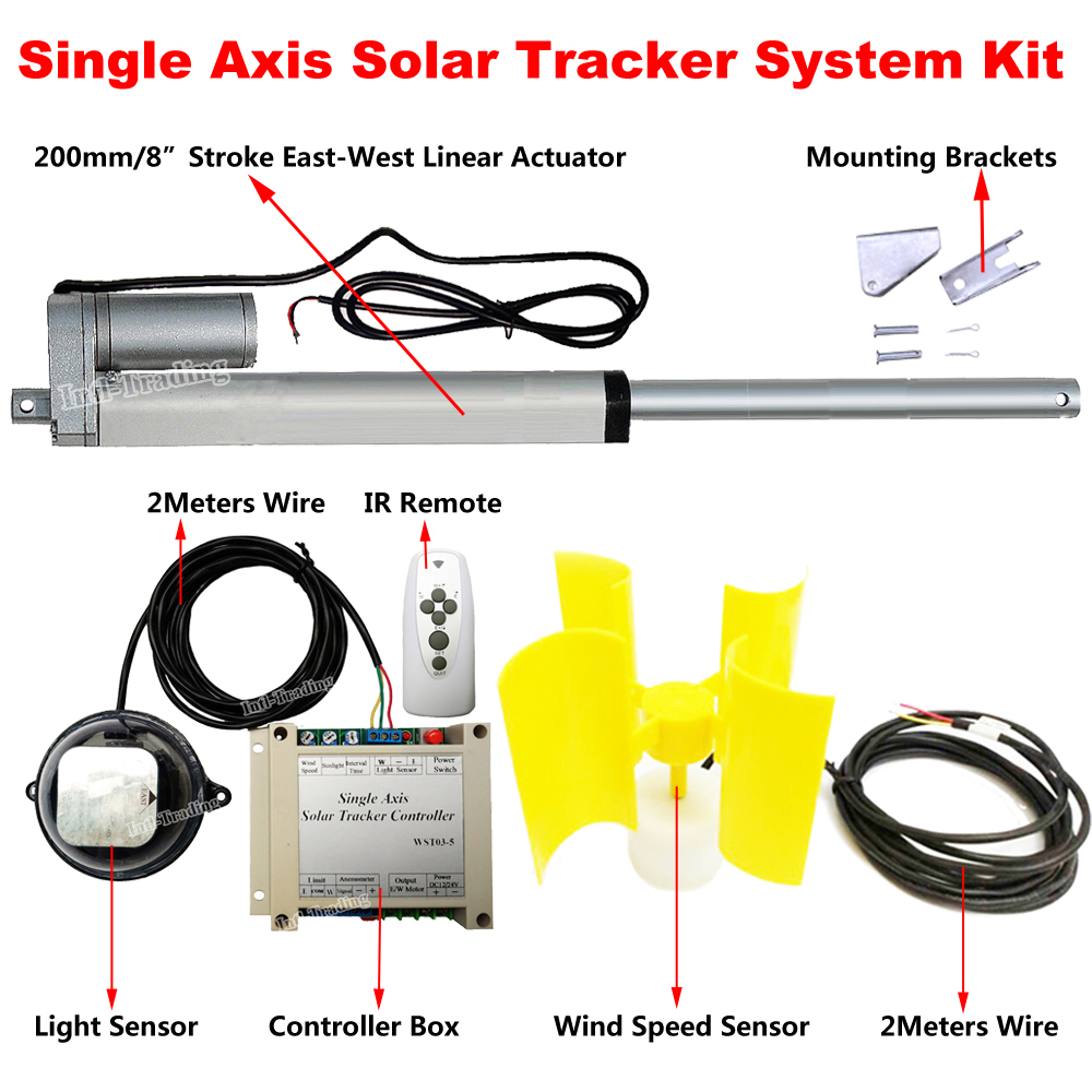 Single Axis Solar Panel Tracking Solar Tracker System W 8 Linear Actuator 12V DC Motor W