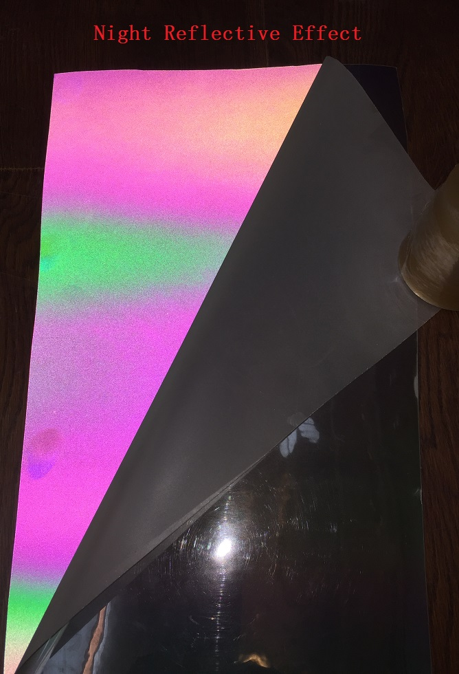 137cm*100cm Reflective Iridescence Colorful Space PU Leather Fabric Night Reflective Rainbow Effect