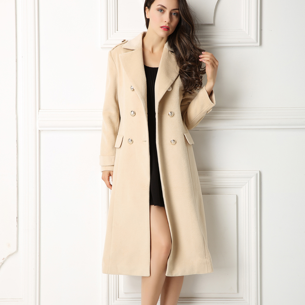 Factory wholesale High-End Lapel neck Long sleeves Double breasted Pocket coats