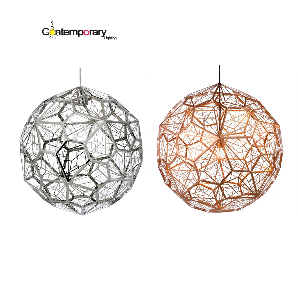 Chrome Replicas Modern Copper Etch Web Pendant Lights Stainless Steel Lampshade Home Lighting Kitchen Lamp suspension E27 Lampe dia 72cm 75cm designer lighting etch shade suspension pendant lamps golden stainless steel shade pendant lights