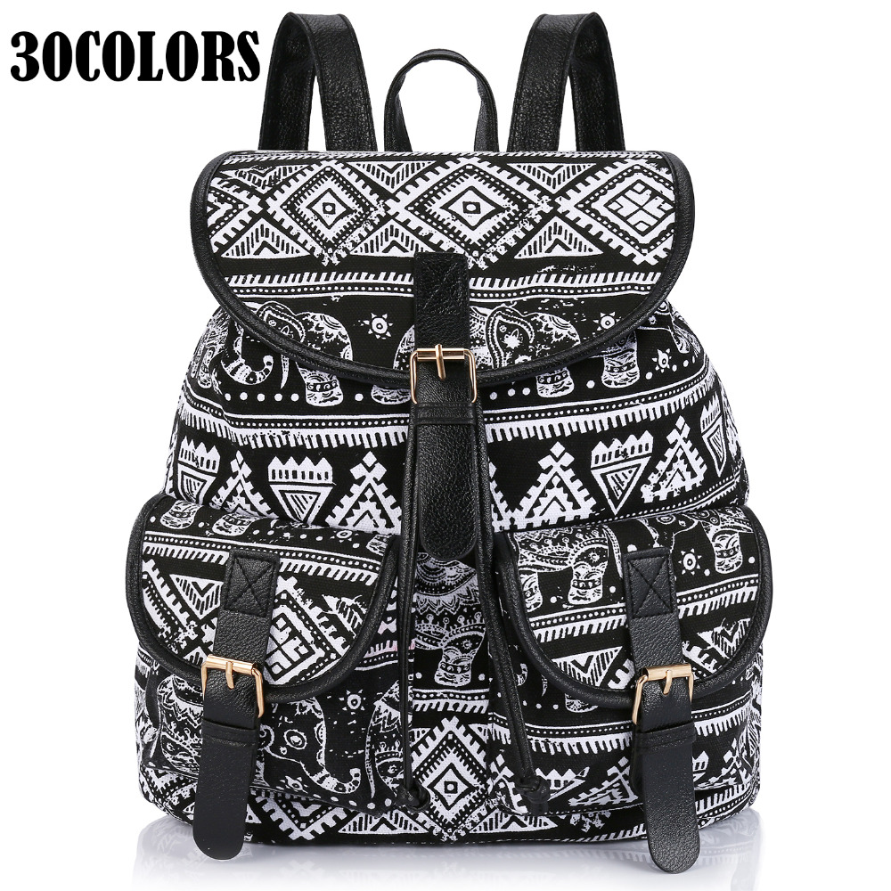 Sansarya New 2017 School Bag Bohemian Vintage Women Backpack Drawstring Printing Canvas Bagpack Sac a Dos Femme Rucksack Female