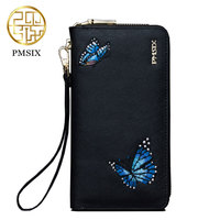 Leather Wallet For Women Brand Pmsix 2017 New Female Wallet Long Section Female Embroidery Split Leather