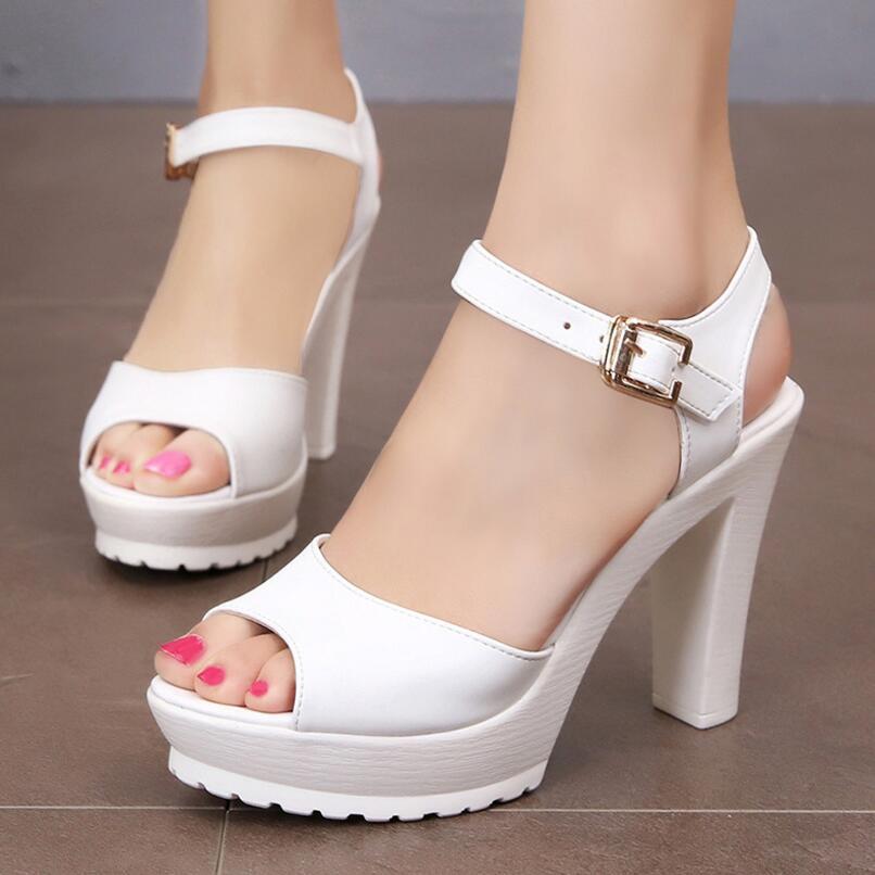 D&Henlu 2018 Summer Plus Size Shoes Woman Heel Sandals