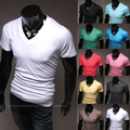 2015 Limited Real Fashion Broadcloth Cotton Short Summer Short-sleeve T Slim Male V-neck T-shirt Basic Shirt