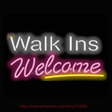 Walk Ins Welcome Salons Neon Sign Commercial Neon Bulbs Real Glass Tube Handicrafted Recreation Room Attract