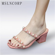 купить size 34-43 Fashion Women Summer Beach Slippers Woman Beading Pearl slip on peep toe Sexy Party Sandals chunky high heel Shoes по цене 1913.89 рублей