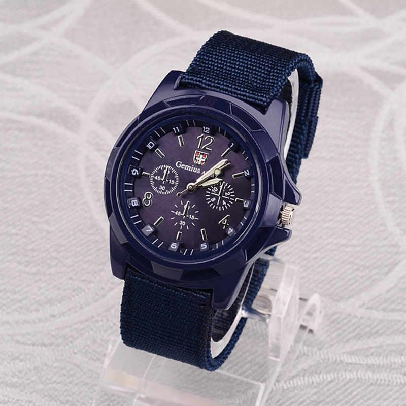 Reloj de pulsera de cuarzo analógico de nailon para hombre con correa de lona para piloto militar de lujo