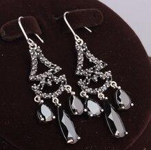 Freeshipping Pear Shape Black Onyx 925 Sterling Silver Jewelry Drop Dangle Earrings For Women S5098