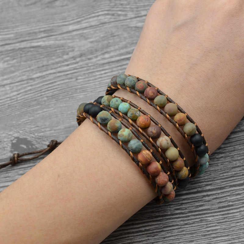 Винтажные кожаные браслеты 6 мм матовый камень 3 браслет из переплетенных нитей Плетеный многослойный Boho ювелирный браслет ручной работы