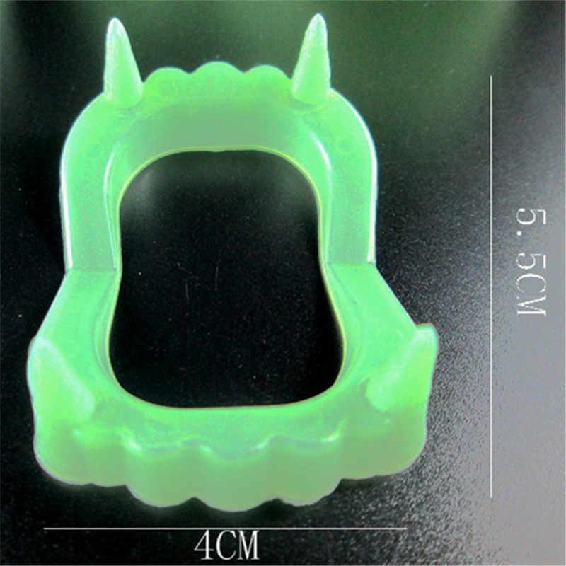 Vampire Fake Teeth Luminous Glow in the Dark Gag Terrorist Toy for Halloween Party Cosplay Prop Masquerade Funny Makeup Dentures