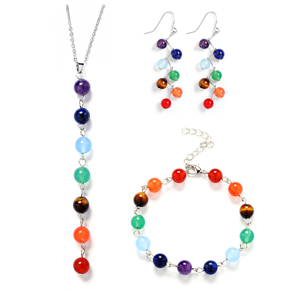 DIEZI India Yoga Energy New Jewelry Sets Natural Stone Beads 7 Chakra Healing Balance Necklaces Earrings Bracelets for Women