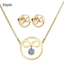 Eleple New Fashion Bow Knot Zircon Stainless Steel Necklace Earring Set Women Exquisite Party Jewelry Sets Accessories S-S006 цена и фото