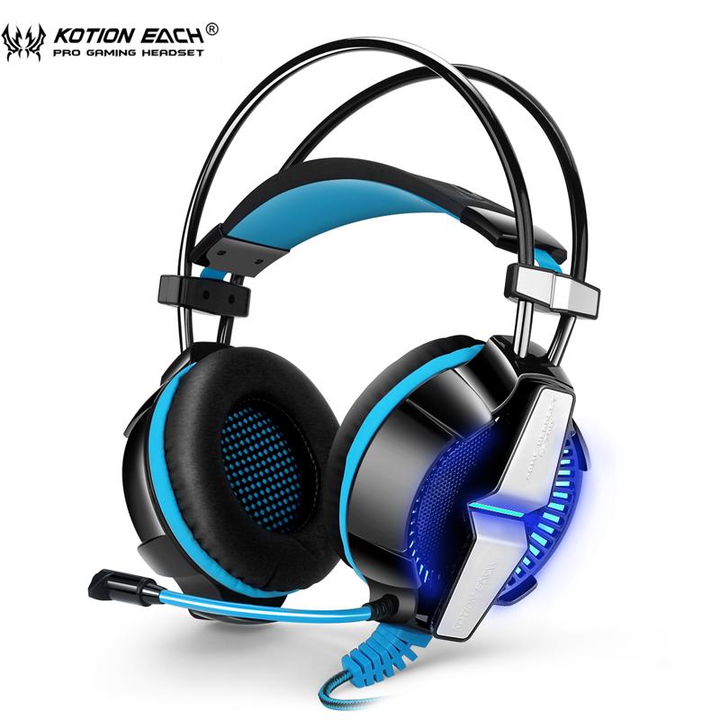 Gaming Headset KOTION EACH GS700 3.5mm Game Headphone Headband with Mic Stereo Bass LED Lighting for PS4 PC Tablet Laptop Phones kotion each g9000 7 1 surround sound gaming headphone game stereo headset with mic led light headband for ps4 pc tablet phone