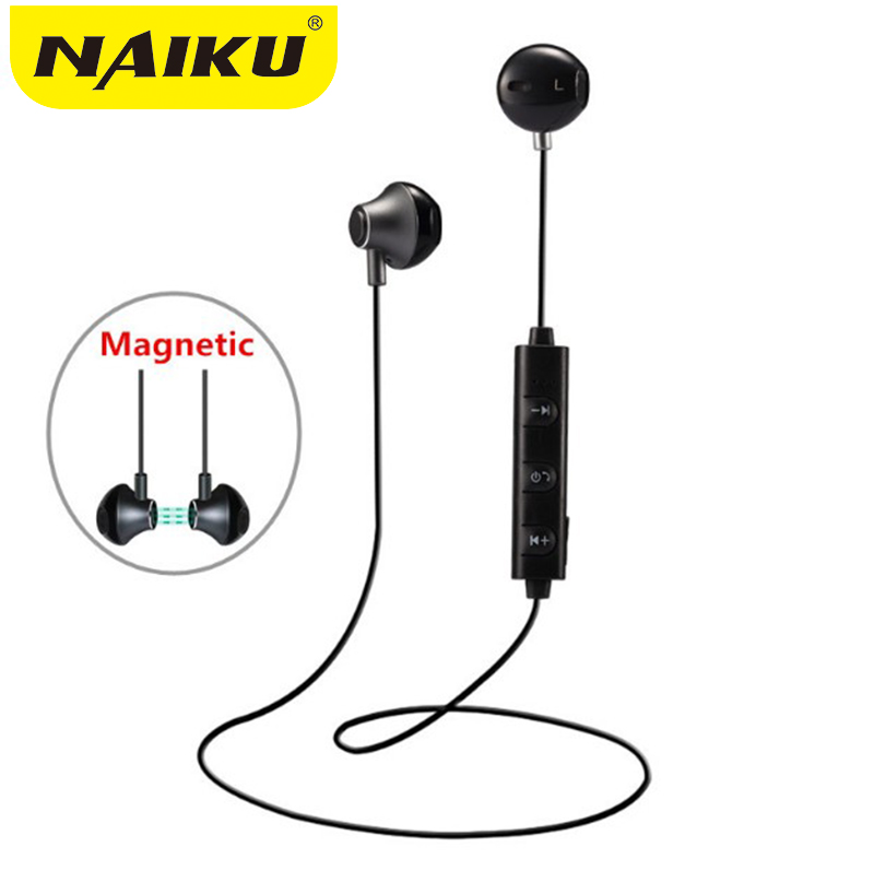 NAIKU 820 in Ear Wireless Bluetooth Earphone Magnetic Stereo Sport Running Headsets With Mic For IPhone Earpod Samsung Xiaomi new metal magnetic wireless bluetooth headphone sport headset hands fress hifi earphone with mic for iphone samsung phones