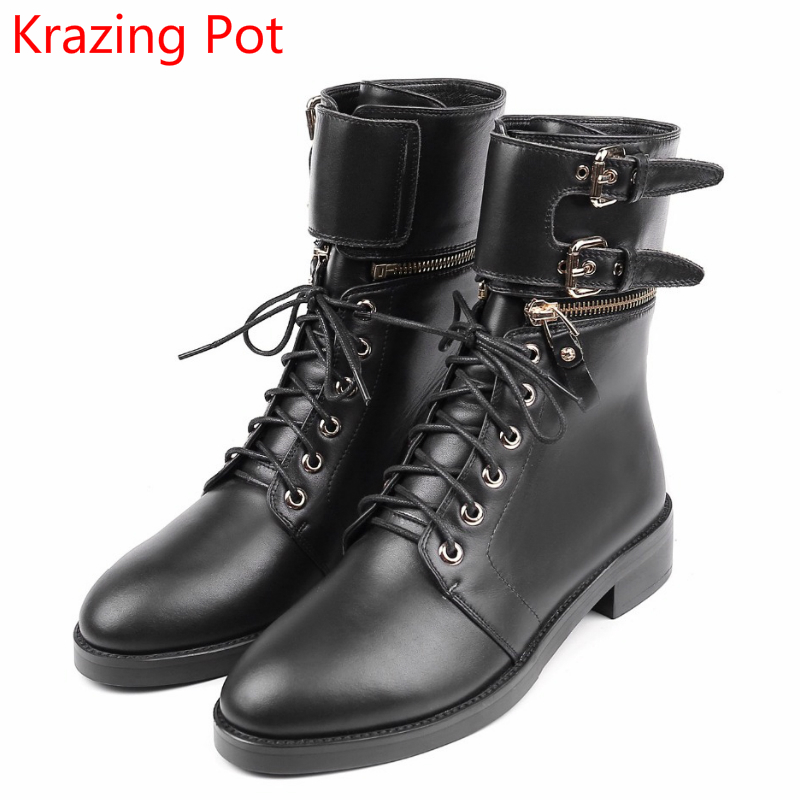 2018 Cow Leather Winter Med Heels Round Toe Metal Rivets Winter Boots Decoration Lace Up Buckle Cowboy Women Mild-calf Boots L66 fashion pointed toe lace up mens shoes western cowboy boots big yards 46 metal decoration