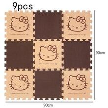 Купить с кэшбэком 9Pcs/Set Eva Foam Puzzle Playmat Baby Toys Hello Kitty Crawling Gym Rug Cartoon Floor Play Mat Baby's Climb Blanket Game Carpet