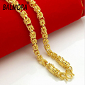 New Fashion Jewelry 24K Gold Plated Necklaces for Women Men About 55cm Long Necklace Colorfast Curb Chains Free Shipping B055